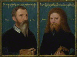 by Gerlach Flicke, diptych, oil on paper or vellum laid on panel, 1554